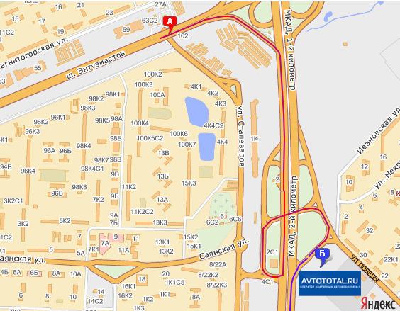 Карта проезда к стоянке Реутов